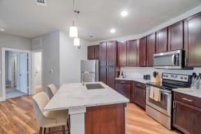 Kitchen with large island at Windsor Ridge Austin