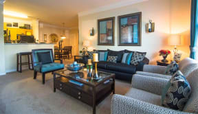 Living Room With Kitchen View at Haven North East, Atlanta, GA, 30340