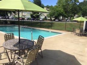 Legacy at Norcross, Norcross Georgia, beautiful swimming pool with green umbrellas