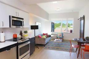 Burnside 26 in Portland, OR one bedroom kitchen and living room