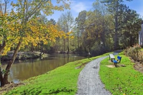 Walking path near river