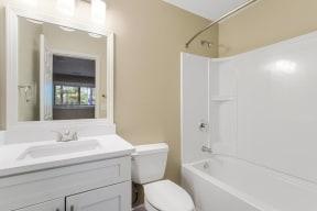 Model bathroom showcasing renovations