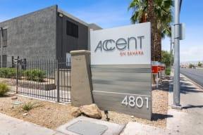 Property entrance sign and landscape