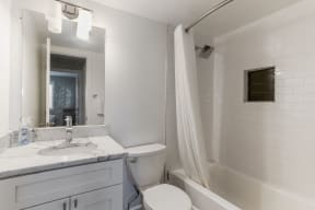 Bathroom with marble vanity and shower/tub combo