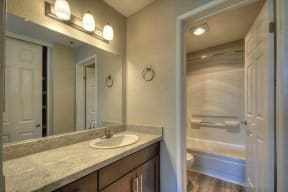 Apartments in Larkspur CA - Larkspur Courts Bathroom with a Large Vanity, Stainless Steel Features, Shower, and Much More