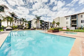 Apartments for Rent in Chatsworth CA - Resort-Style Sparkling Swimming Pool with Lounge Areas