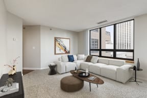 Galtier Towers Apartments in Dowtown St. Paul Living Room