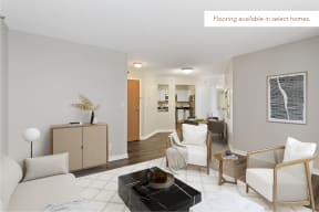 Galtier Towers Apartments in Downtown St. Paul Living Room, Wood Flooring Available in Select Homes