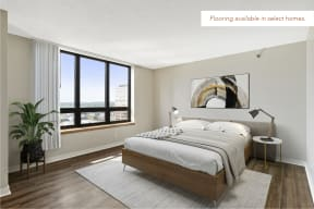Galtier Towers Apartments in Downtown St. Paul Bedroom, Wood Flooring Available in Select Homes