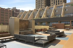 Kellogg Square Apartments in St. Paul, MN Fire Pits and Sundeck
