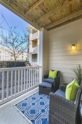 Renovated Patio Balcony with Seating at Aventura at Forest Park, St. Louis