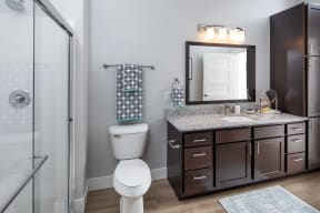 Tesla Vanity Master Bathroom View at The Edison at Spirit, Lakeville Minnesota, 55044
