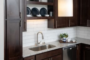 Ford Kitchen with Backsplash View at The Edison at Spirit, Lakeville Minnesota