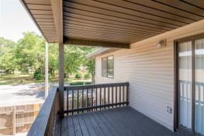 Large wooden balcony.