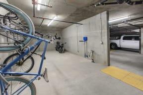Bike rack in parking garage