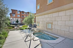 exterior of building with jacuzzi