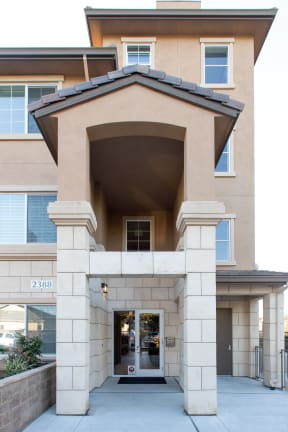 entryway of the apartment building