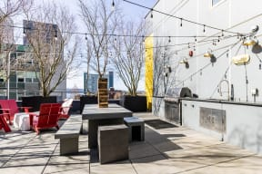 Rooftop grill and seating