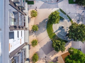 main and nine birds eye view of landscape entry way