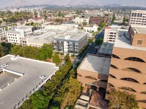 birds eye view of main and nine building and parking garage
