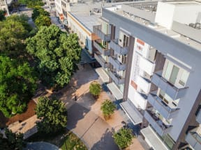 birds eye view of main and nine exterior entry way