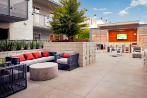 Outdoor lounge with TV