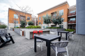 Courtyard grill and seating area