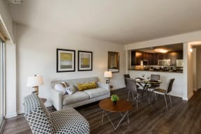Apartments for Rent in Palo Alto CA - Open Space Living Room with Stylish Interiors and Hardwood Floors
