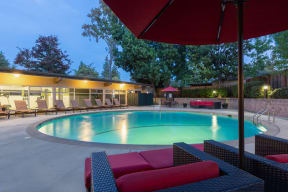 Apartments in Palo Alto CA - Swimming Pool at Dusk Featuring Various Lounge Area