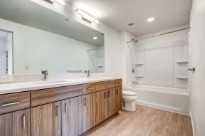 Bath vanity and shower   Ageno Apartments in Livermore, CA