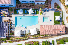 Arial view of community and pool Ageno Apartments   Livermore, CA
