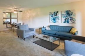 Living Room With Plenty Of Natural Light, at The Woods of Burnsville, Burnsville