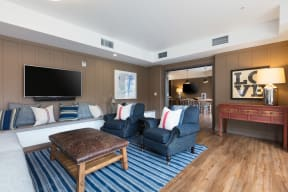 Clubroom with seating and TV