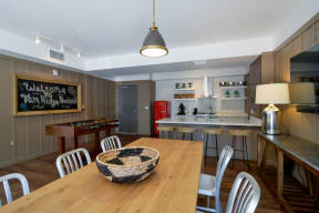 Clubroom game. kitchen, and dining area