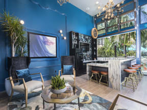 Clubroom with bar and lounge area