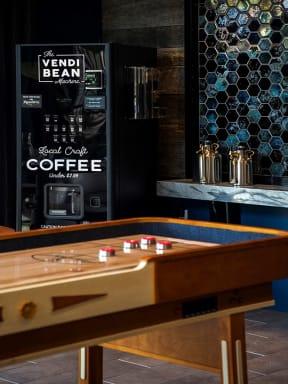 Clubroom game area with Vendi Bean Coffee Machine