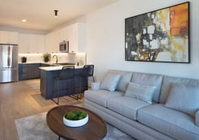 Living Room With Kitchen View at North+Vine, Illinois, 60610