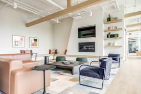 Clubroom With Smart Tv And Fireplace at North+Vine, Chicago, IL