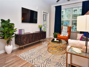 Resort Style Pointe at Lake CrabTree Living Rooms in Morrisville Apartment Homes