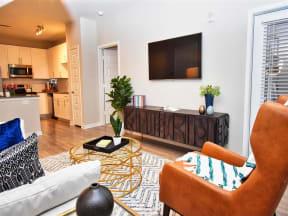Pointe at Lake CrabTree Living Room With Television in North Carolina Rentals