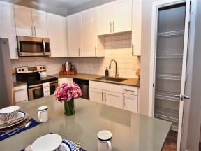 Modern Kitchen at Pointe at Lake CrabTree Apartment for Rent in Morrisville, North Carolina