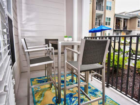 Spacious Pointe at Lake CrabTree Patio With Sitting Arrangements in North Carolina Apartments for Rent