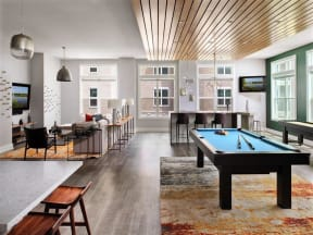 Billiards Table In Pointe at Lake CrabTree Clubhouse in Morrisville, NC Apartment Homes for Rent
