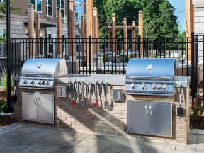 Pointe at Lake CrabTree Community Grilling Station at Pointe in Morrisville, NC Apartment Rentals