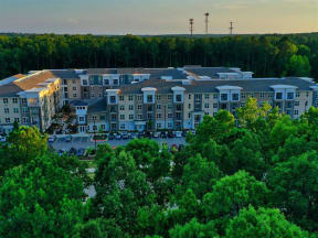 Drone Exterior View of Pointe at Lake CrabTree Apartment Rentals for Rent in Morrisville, NC