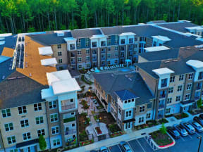 Aerial View of Pointe at Lake CrabTree in North Carolina Apartments