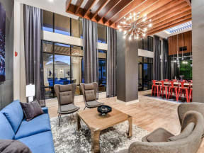 Beautiful clubhouse with comfortable seating spaces throughout for Orlando apartment residents