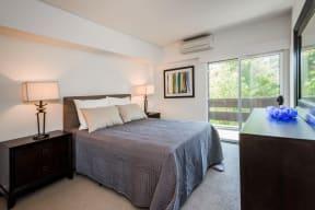 Bedroom with balcony door