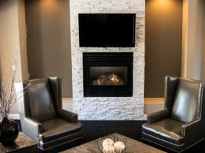 Clubhouse fireplace  l Vineyard Gate Apartments in Roseville CA
