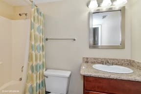 ModelHomes-Renovated Bathrooms with Quartz Counters, at Suncrest Apartment Homes, Indianapolis, Indiana